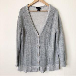 Lane Bryant V-Neck Button Up Cardigan Sweater Gray